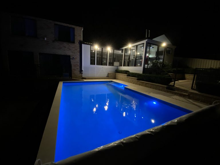 New pool lights in a pool renovation.